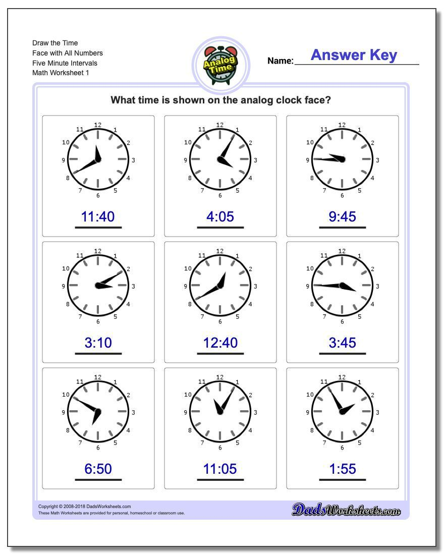 Telling Analog Time Pdf Worksheets Write The Time Draw The Clock Face Elapsed Time And More Clic Time Worksheets Clock Worksheets Telling Time Worksheets