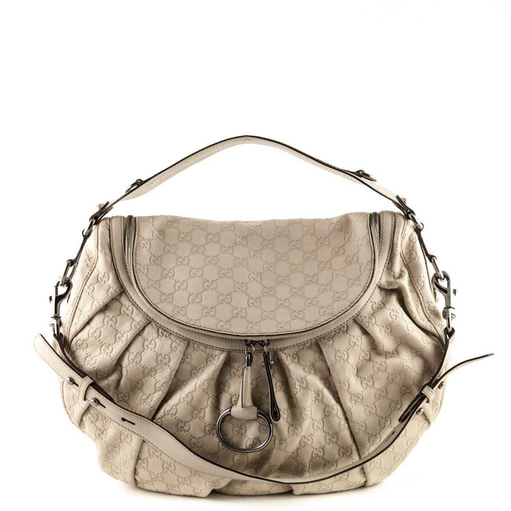 0d56967dcb6d Gucci Beige Guccissima Pleated Icon Bit Shoulder Bag - LOVE that BAG - Preowned  Authentic Designer Handbags -  700 CAD