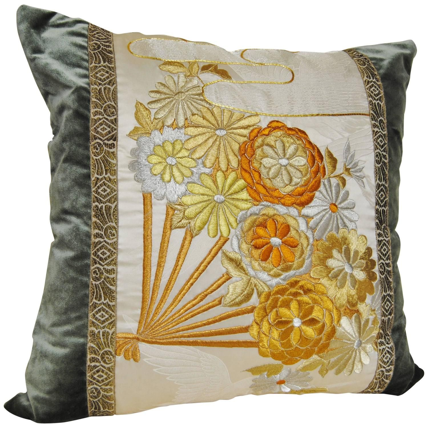 Custom Japanese Pillow from an Antique Silk Embroidered Uchikake ...