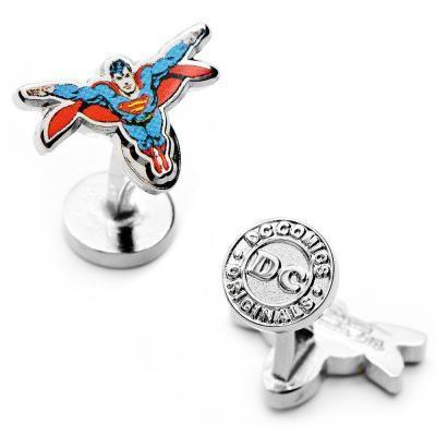 Wedding Prom Birthday Classic Superman Man of Steel Comic Book Cover Cufflinks or Stud Earrings