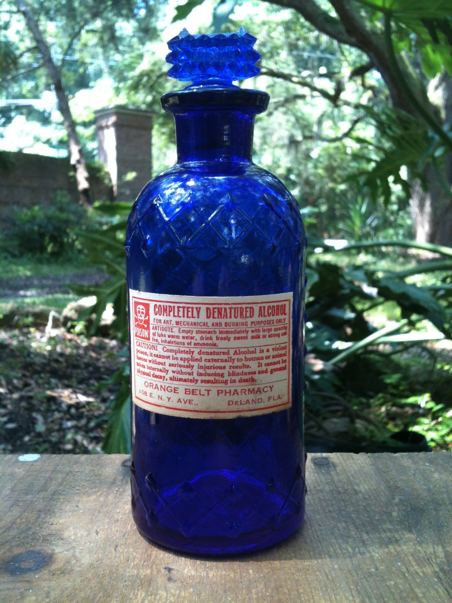 "Cobalt blue ""Diamond & latice"" poison, circa 1900 from ORANGE BELT PHARMACY DELAND, FLA"