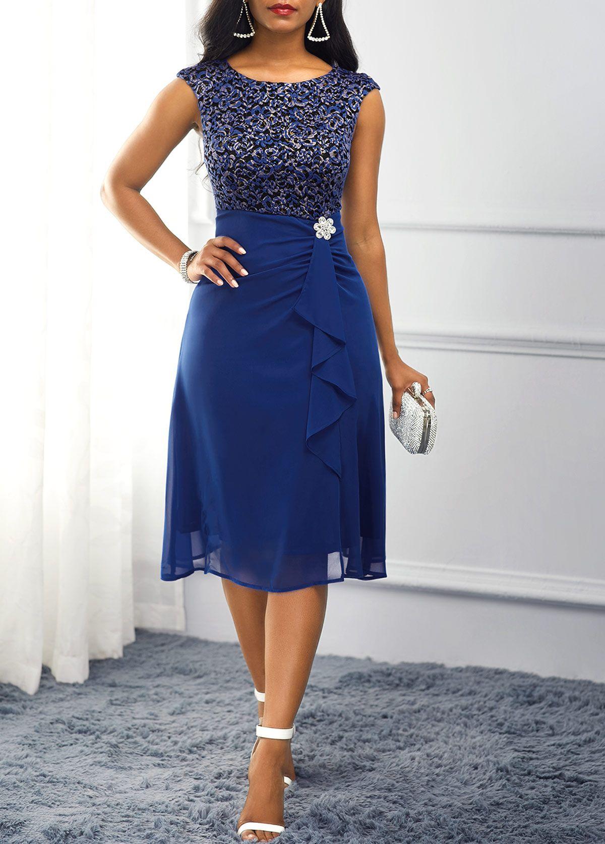 Rhinestone Embellished Navy Blue Dress USD