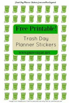 Free Trash Day Planner Stickers  PlannerJournaling