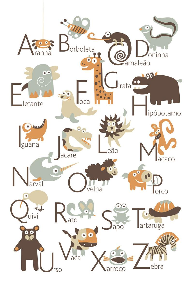 Portuguese Alphabet Poster With Animals From A To Z Big Poster 13x19 Inches Alphabet Poster Animal Alphabet Portuguese To English