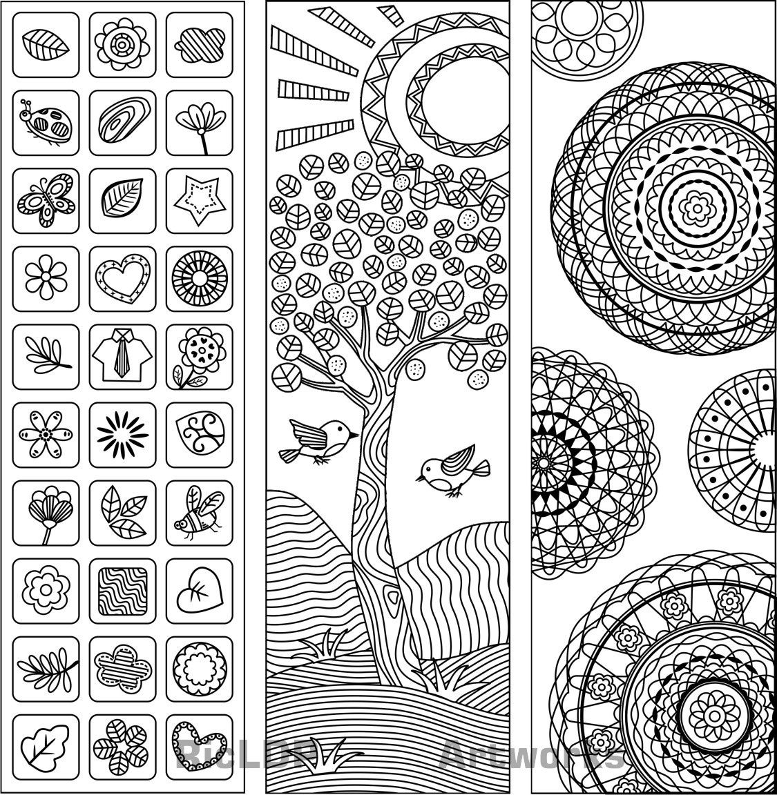 Three Coloring Bookmarks Coloring Pages Free Printable