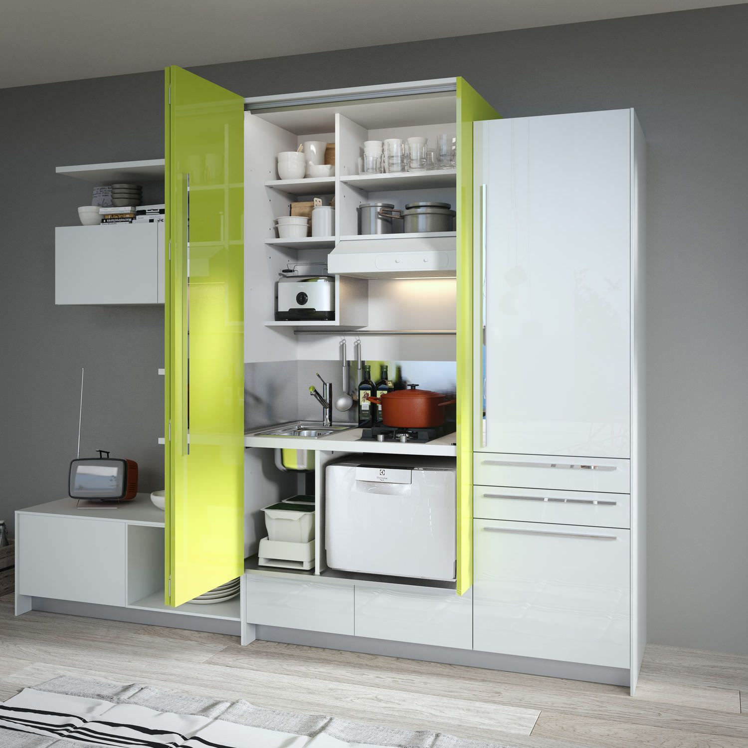 Loft Style Kitchen Design By Michele Marcon: Contemporary Lacquer Kitchen (with Island)