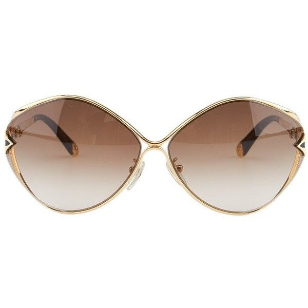 d355410c1b3 Pre-owned Louis Vuitton Laurel Z0410U Gold Metal & Plastic Oval... ($350) ❤  liked on Polyvore featuring accessories, eyewear, sunglasses, oval glasses,  ...