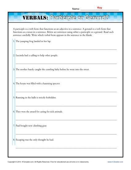 These Sentences Have Participles And Gerunds For Your Student To Identify Phrase Worksheet Gerund Phrases Worksheets