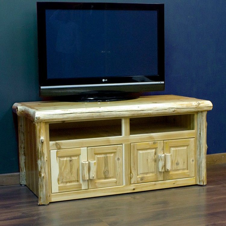 Cedar Lake Log Widescreen TV Stand