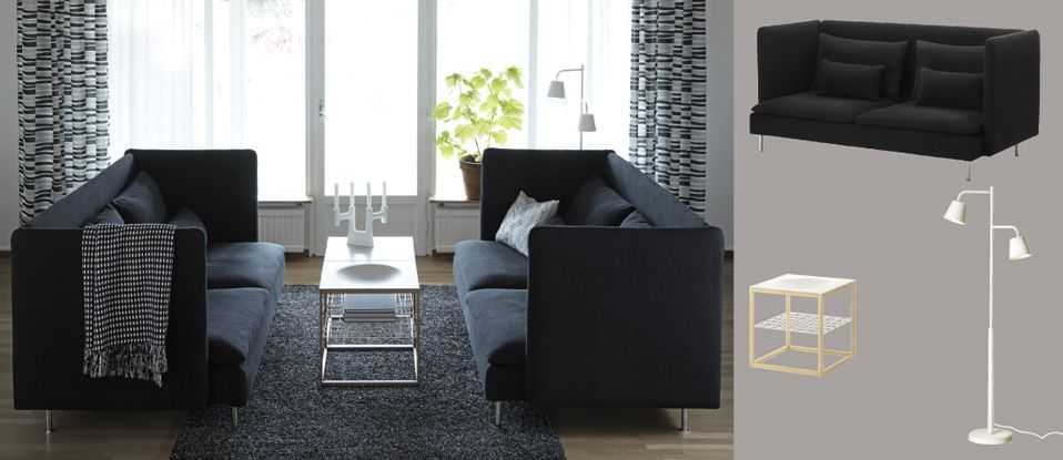 SÖDERHAMN three-seat sofa with Replösa black cover, IKEA PS 2012 side table and ALHEDE black rug with high pile