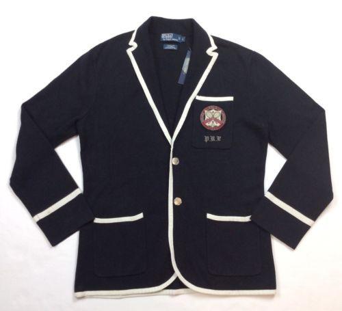 Polo Ralph Lauren Men Preppy Crest Cricket Sweater Knit Cardigan Jacket Blazer L Polo Ralph Lauren Mens Cardigan Jacket Polo Ralph Lauren