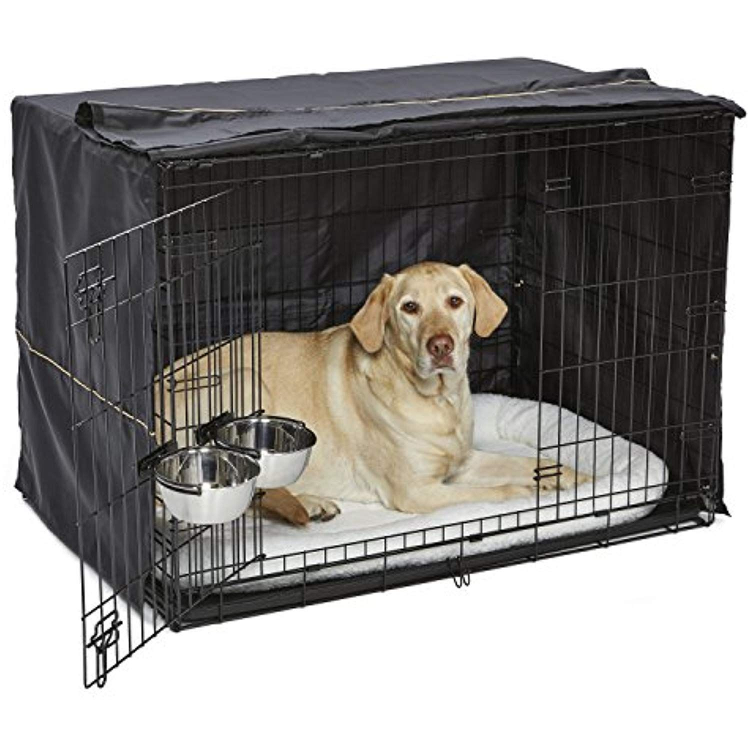 Midwest Homes For Pets Large Dog Crate Starter Kit One 2 Door Icrate Pet Bed Crate Cover And 2 Pet Bowls Large Dog Breeds Dog Crate Cover Large Dog Crate