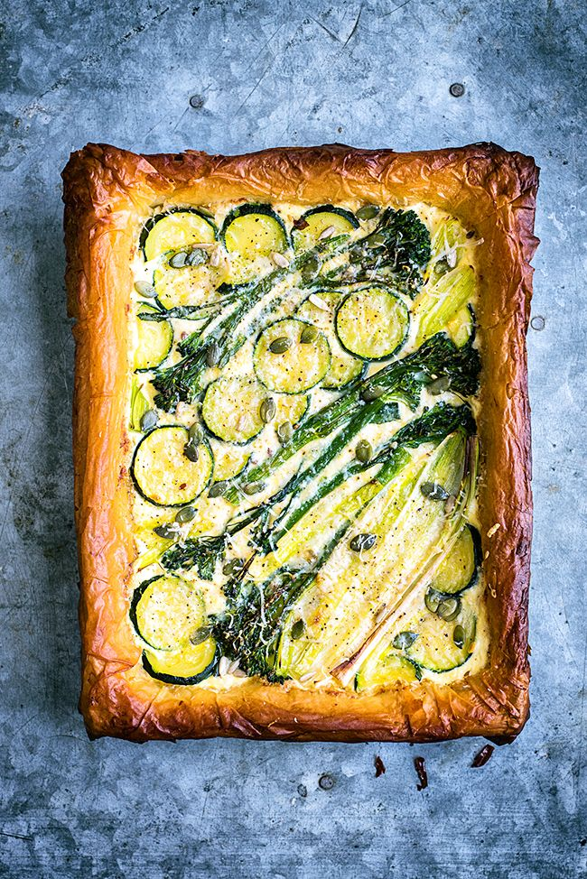 Spring Tart with Ricotta, Leek, Sprouting Broccoli and Courgette