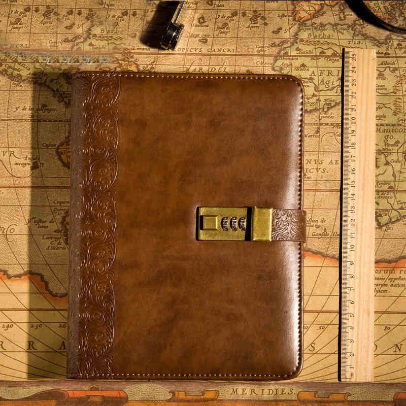 A5 Brown Embossed Leatherjournal Written Password Code Lock Diary Book Pen Gift Embossed Leather Notebook Vintage Notebook Vintage Leather Journals