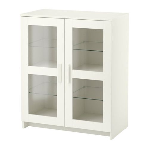 brimnes cabinet with doors glass white. Black Bedroom Furniture Sets. Home Design Ideas