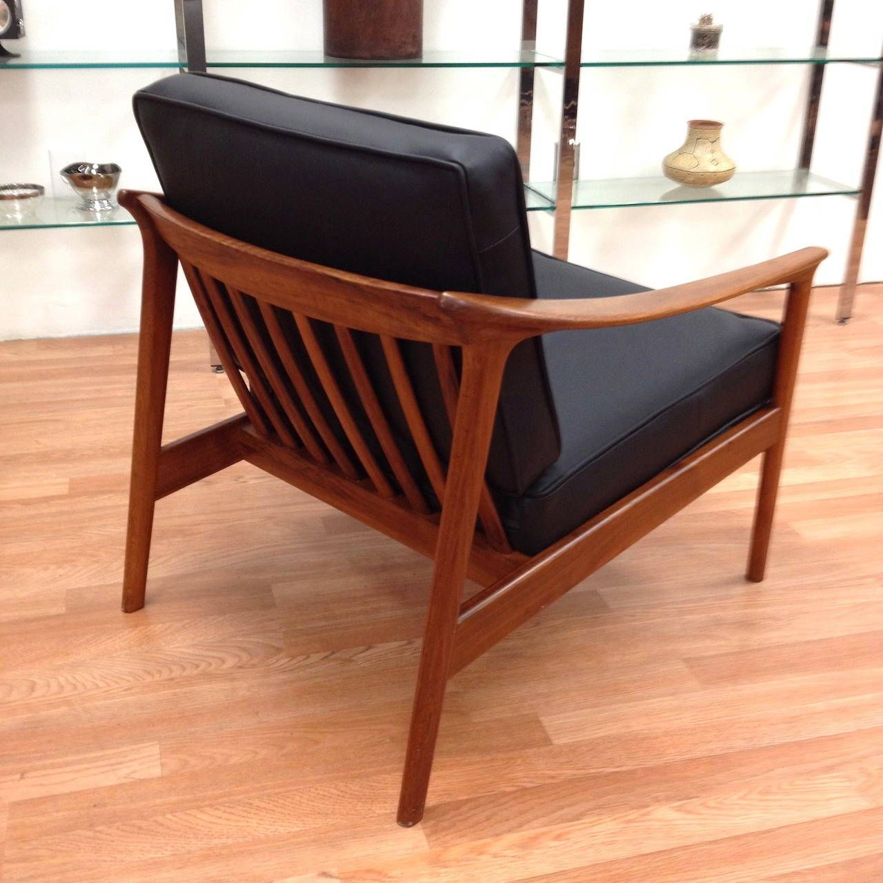 Dux Danish Mid Century Modern Walnut Black Leather Lounge