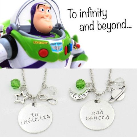 "This simple necklace is a stamped 1"" disc with Disney's Toy Story quote ""To infinity and beyong"" in our Merlin font paired with a few star stamps and is hanging on an 17"" chain This necklace is simple"