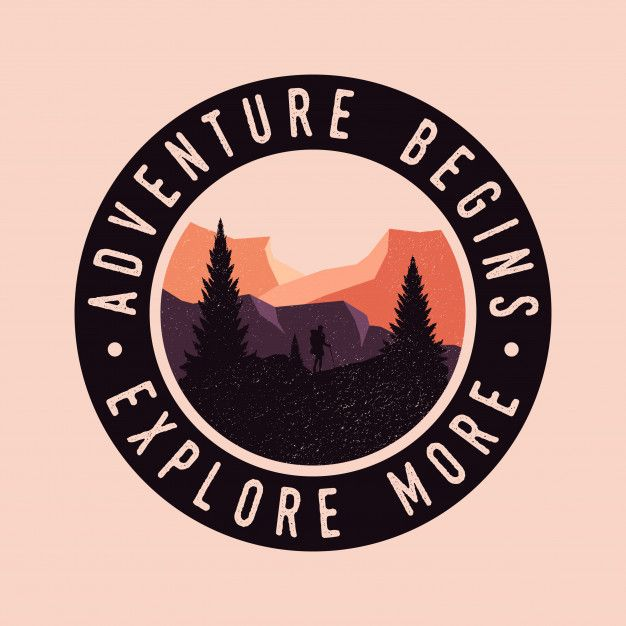 Adventure Begins Colorful Explore Retro Vintage Badge Logo In 2020 Retro Illustration Retro Badge Logo