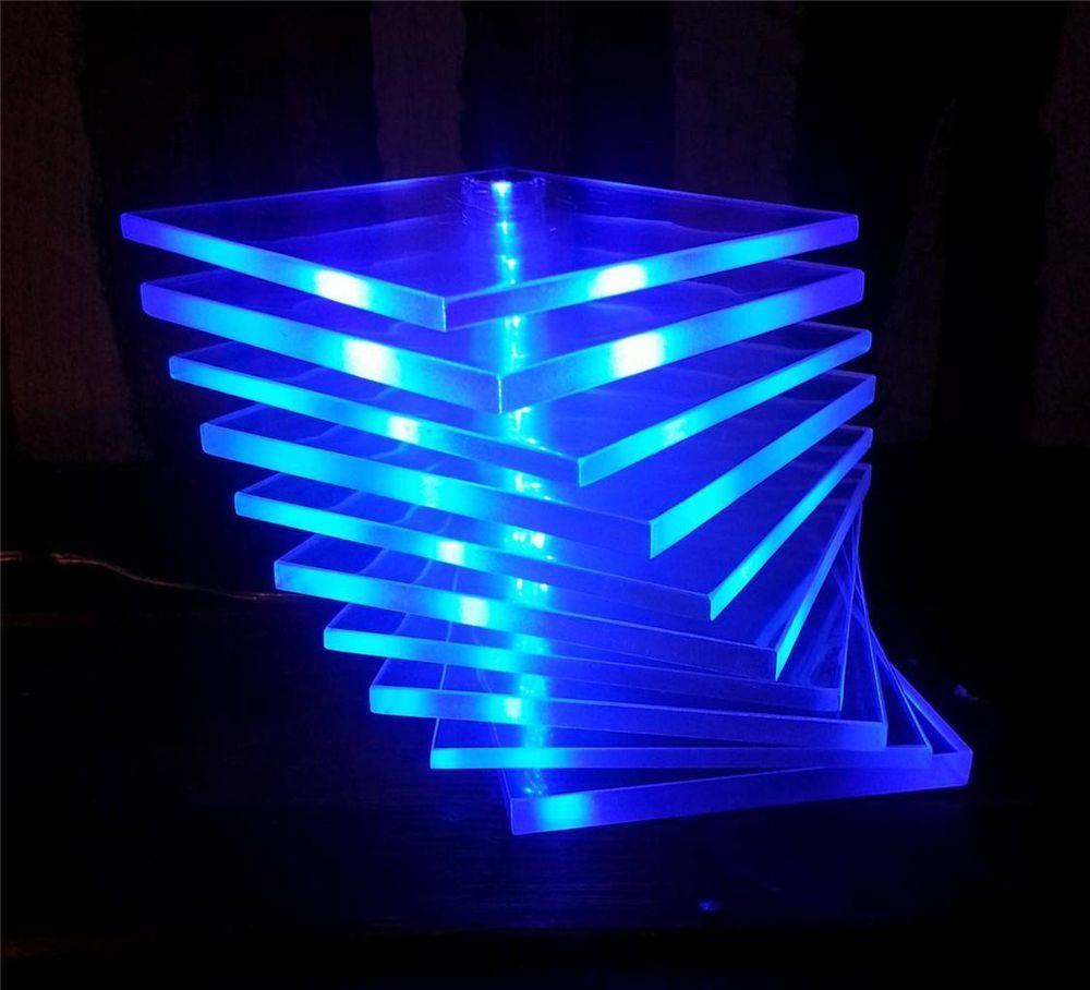 Ikea Adjustable Poseable Lucite Blue LED Table Desk Accent Mood Light Lamp B0323 #IKEA