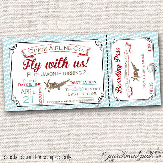 Vintage Airplane Deluxe Printable Party Package by parchmentpath - airplane ticket template