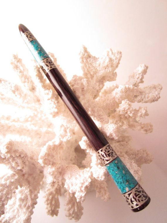 Hair Stick - African Blackwood Inlaid with Turquoise and Silver
