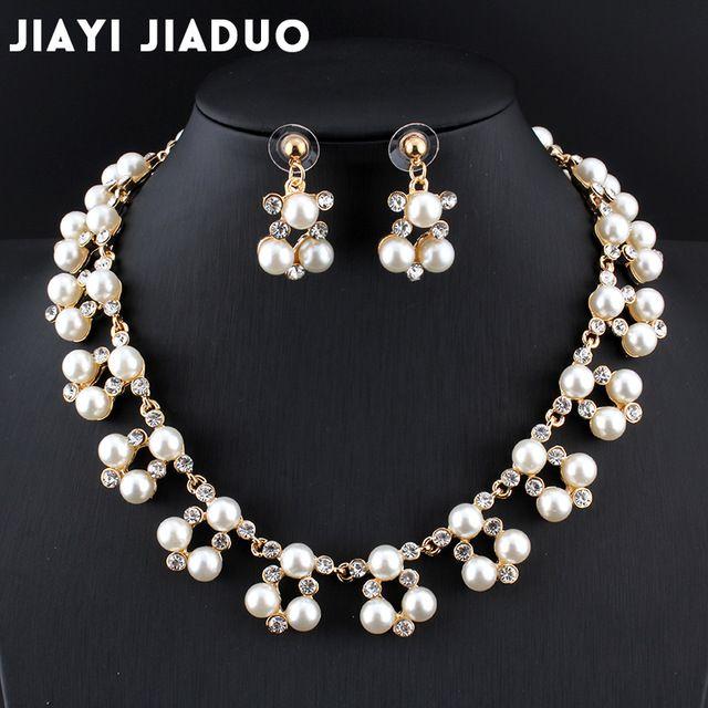 b028324ec01fb5 jiayijiaduo Hot fashion imitation pearl jewelry set for women  gold-colorBridal Jewelry Set necklace earrings dress accessories