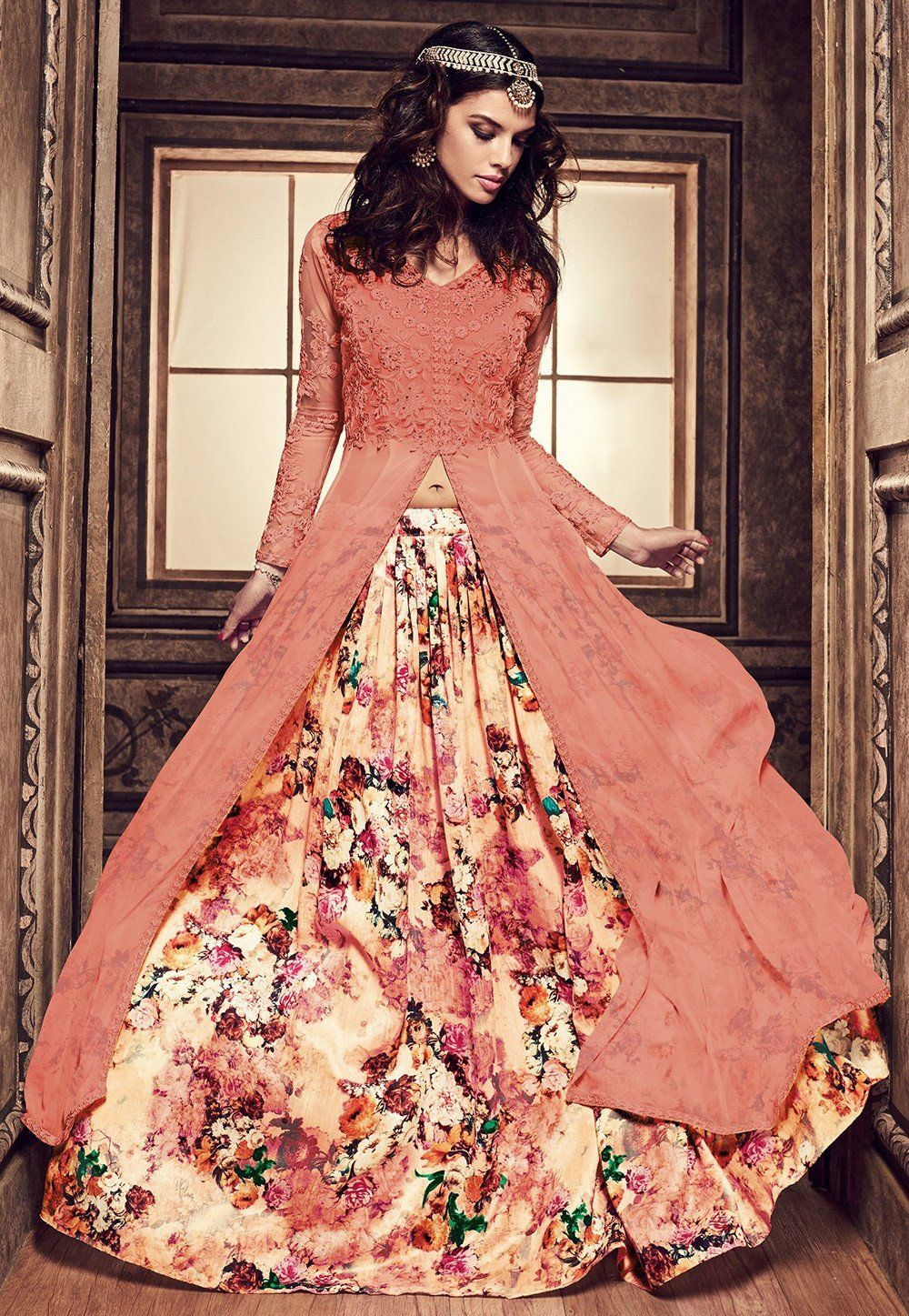 852306456c Embroidered Georgette Jacket Style Lehenga in Peach | Indian Trends ...