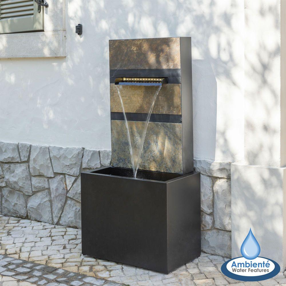 100cm Wasserfall Brunnen Alhambra Aus Stein Und Zink Mit Led Beleuchtung Ambiente 249 99 Wasserfall Brunnen Brunnen Wasserfall