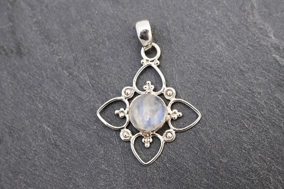 Rainbow Moonstone Pendant  Sterling Silver by TheWiredStarfish