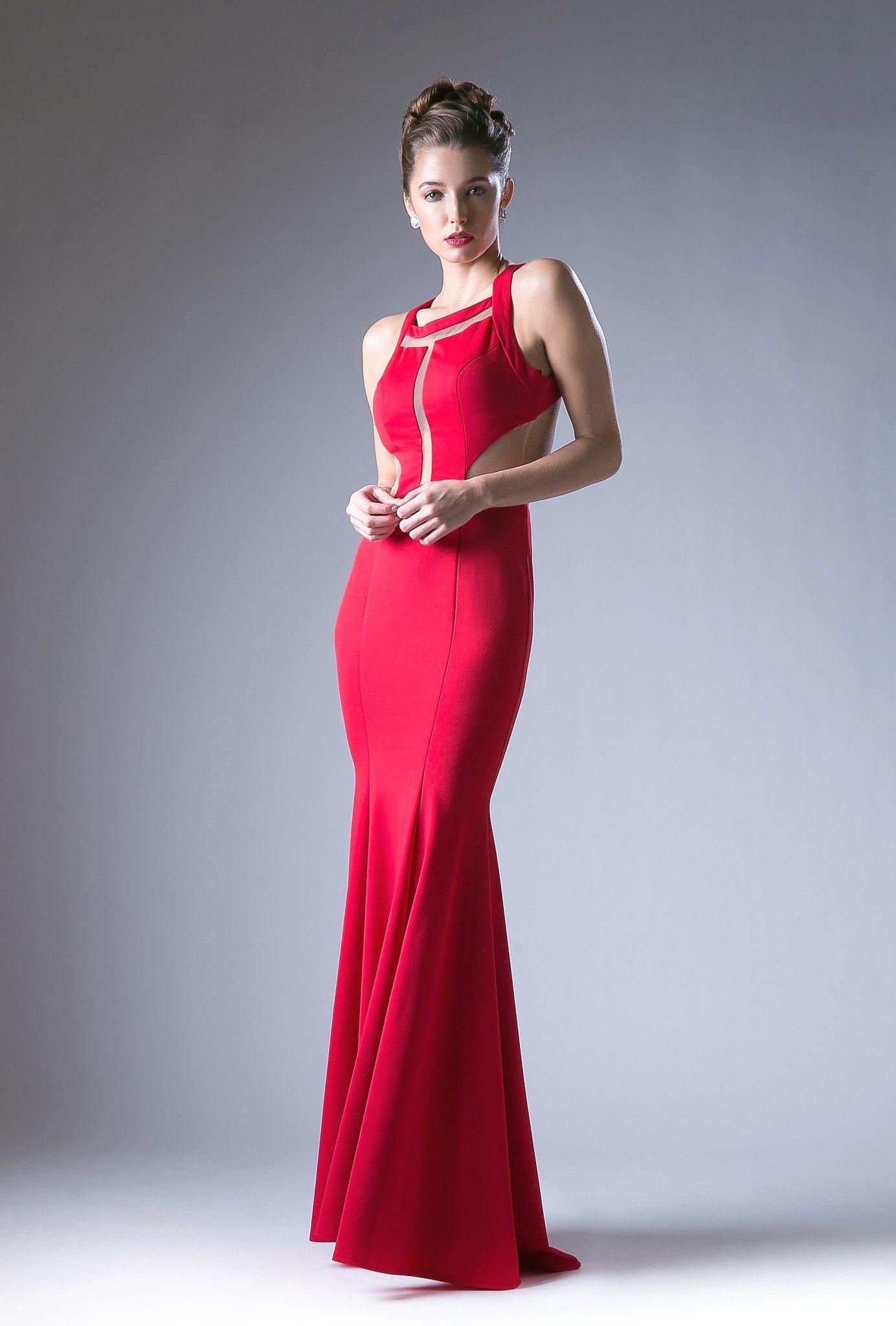 Long halter dress with sheer panels by cinderella divine cf