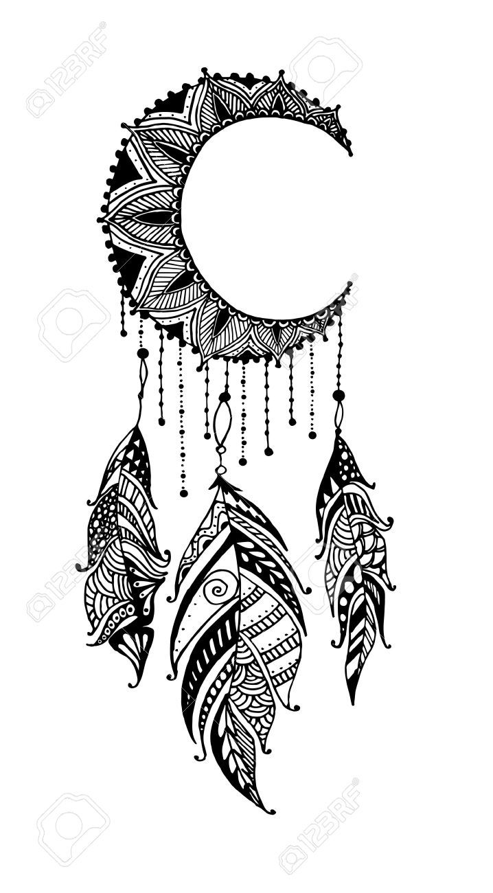 Hand-drawn Moon Mandala Dreamcatcher With Feathers. Ethnic Illustration,.. Royalty Free Cliparts, Vectors, And Stock Illustration. Image 51325806
