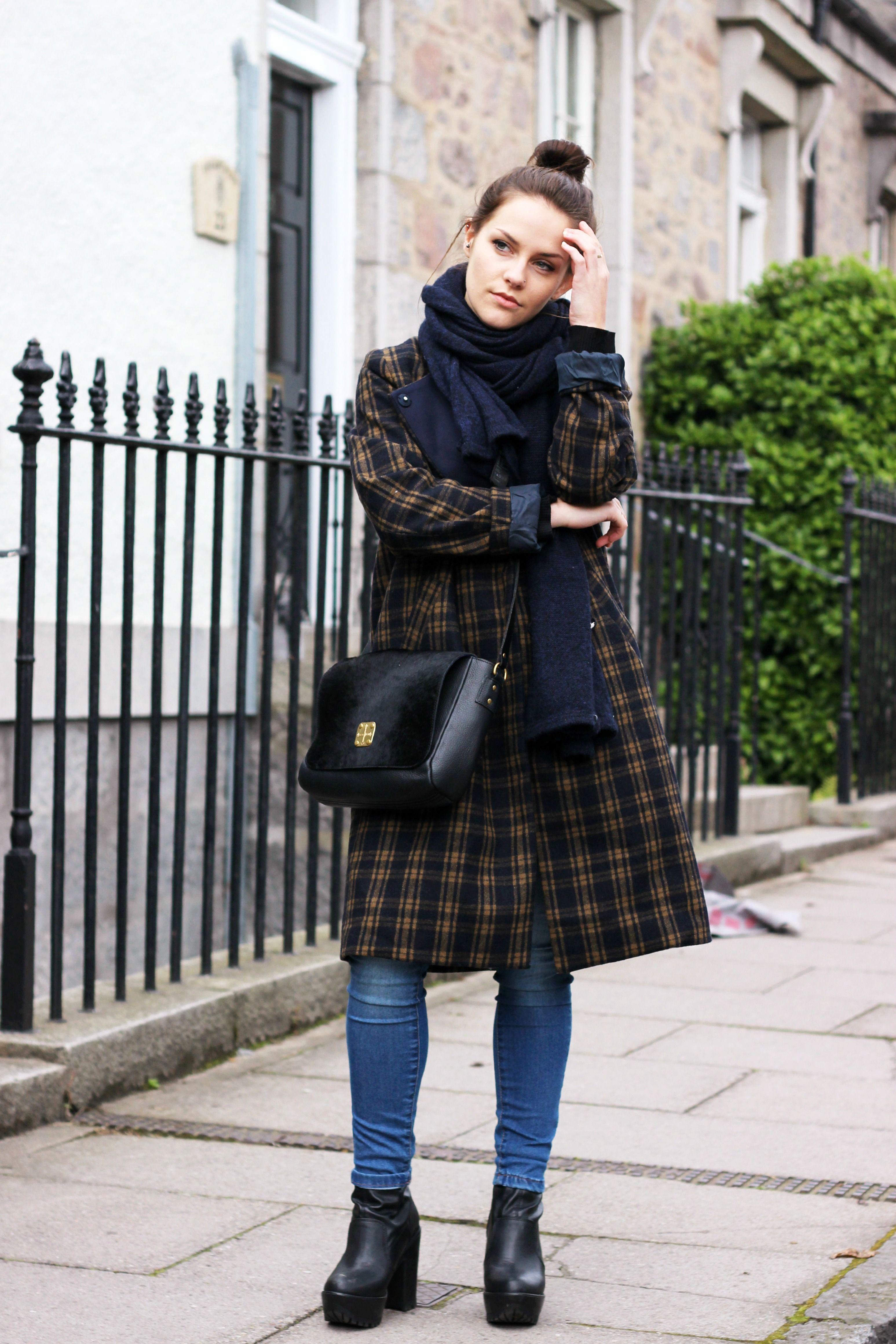 H&M long tartan coat