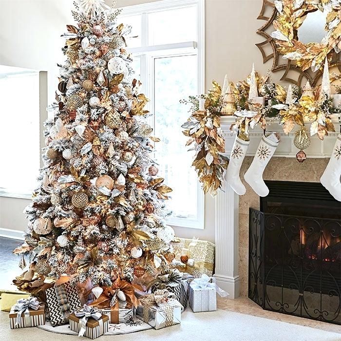 Gold Christmas Decorations Artificial Flocked Tree