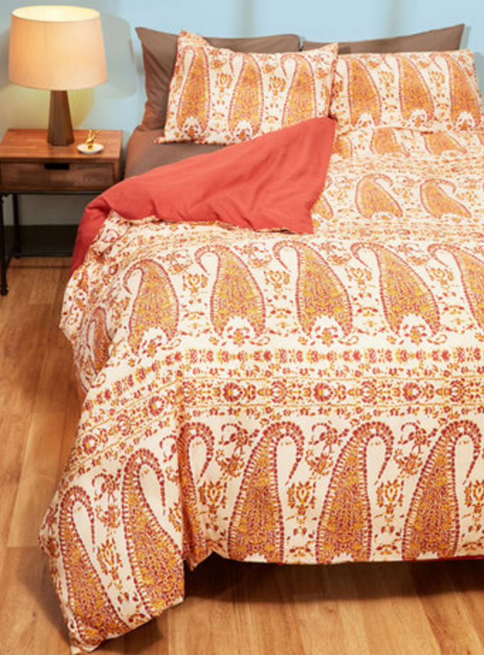 Orange Paisley Duvet Cover