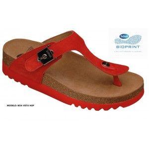 Chinelo Dr Scholl Boa Vista Hop, Bioprint, mantém o pé na posição correcta. Material: Camurça: Altura do salto: 48mm. Cor: Vermelho.
