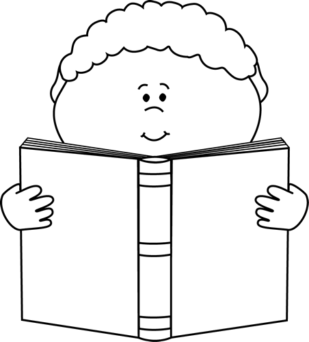 Black And White Little Boy Reading A Book Clip Art Black And White