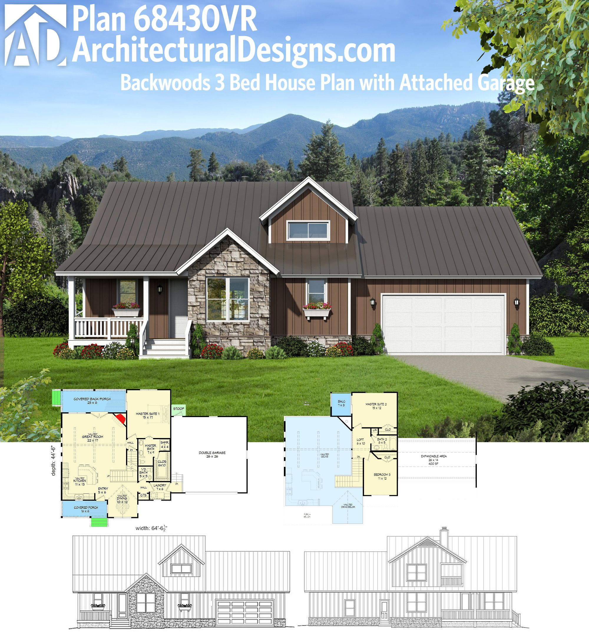 Tiny Home Designs: Architectural Designs 3 Bed House Plan 68430VR Has An