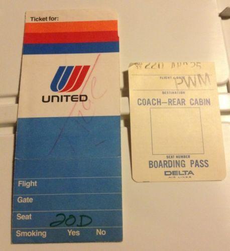Vintage 1974 United Airlines Ticket Jacket Delta Air Lines Boarding