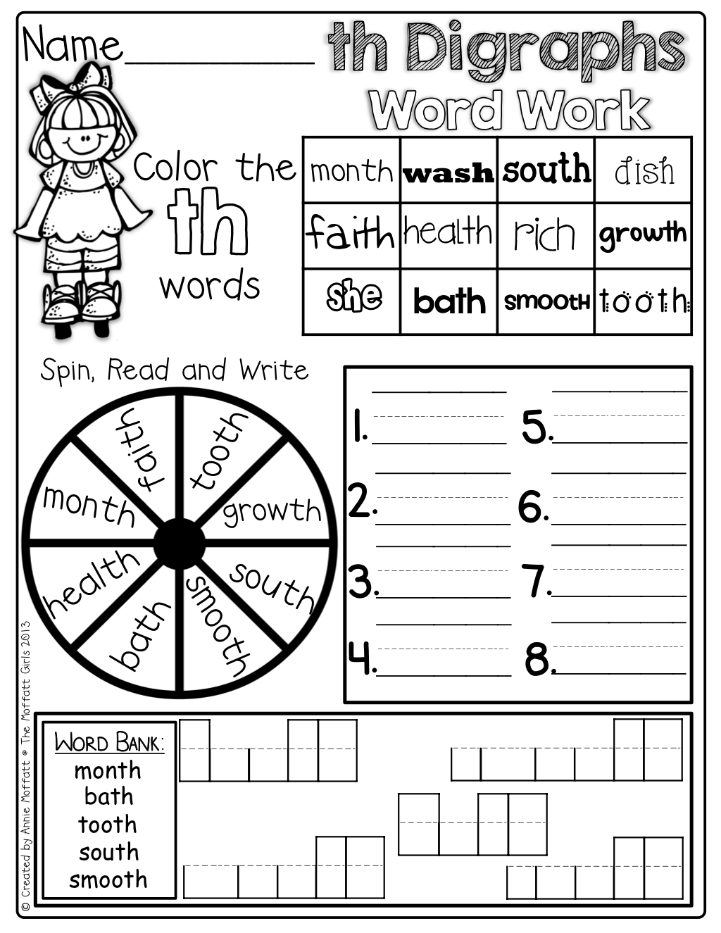 Digraphs Word Work Color The Digraph Words Spin And