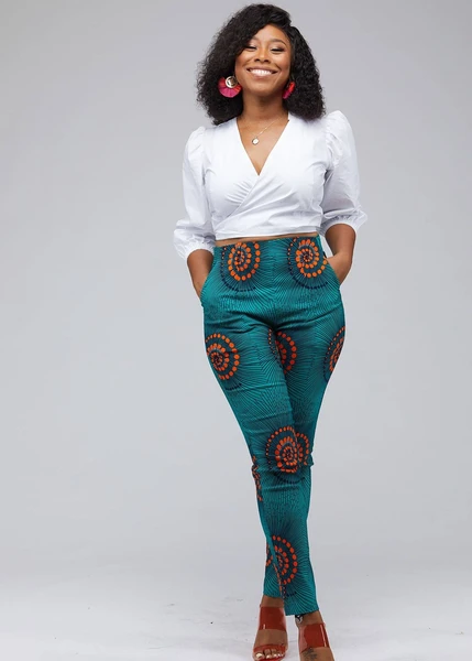 Safina African Print Stretch Fitted High-Waisted Pants (Turquoise Orange Swirls)