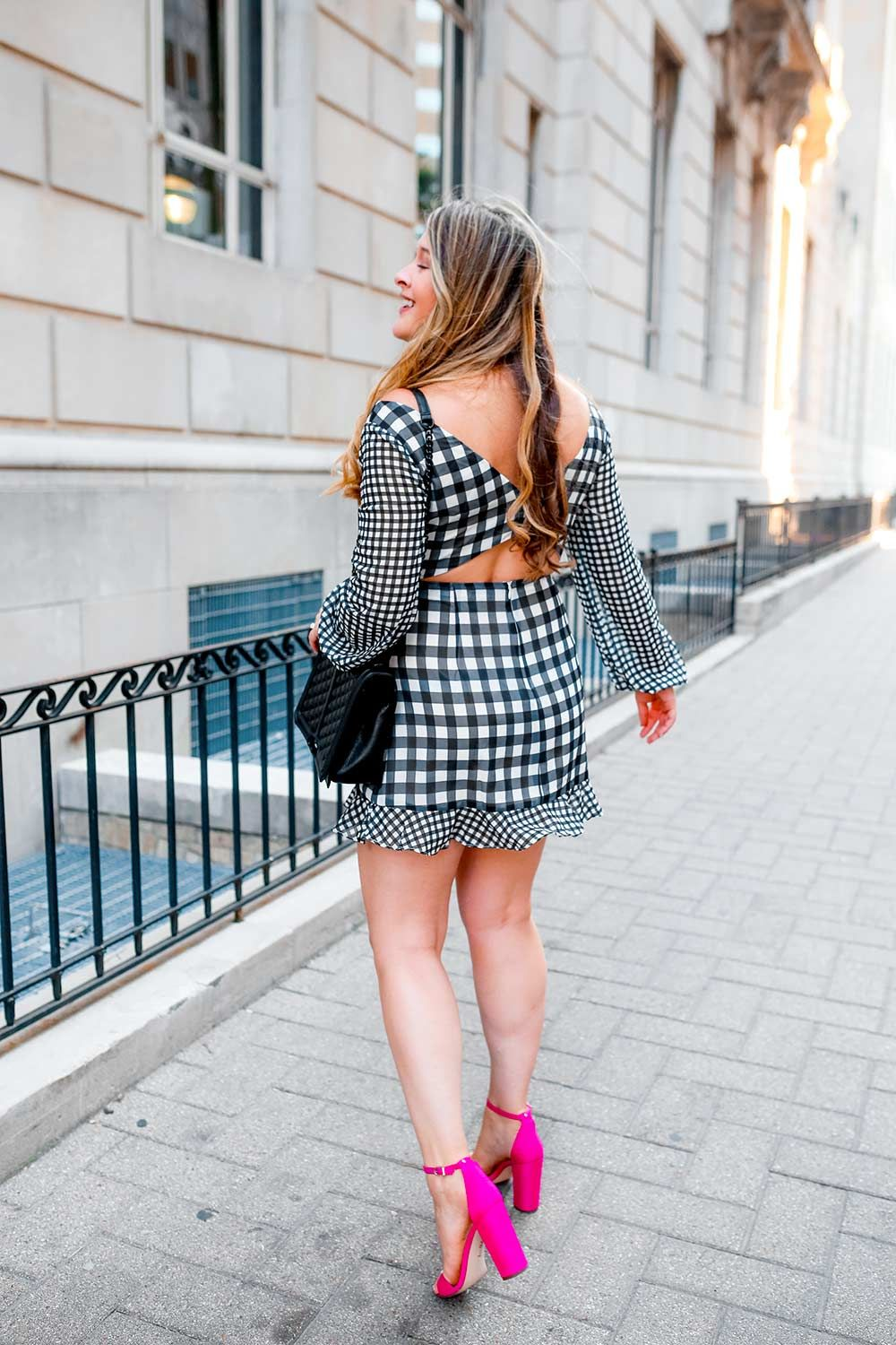 d793a794ec Gingham mini dress from REVOLVE with hot pink sandals by Sam Edelman. Dallas  fashion bloggers street style.
