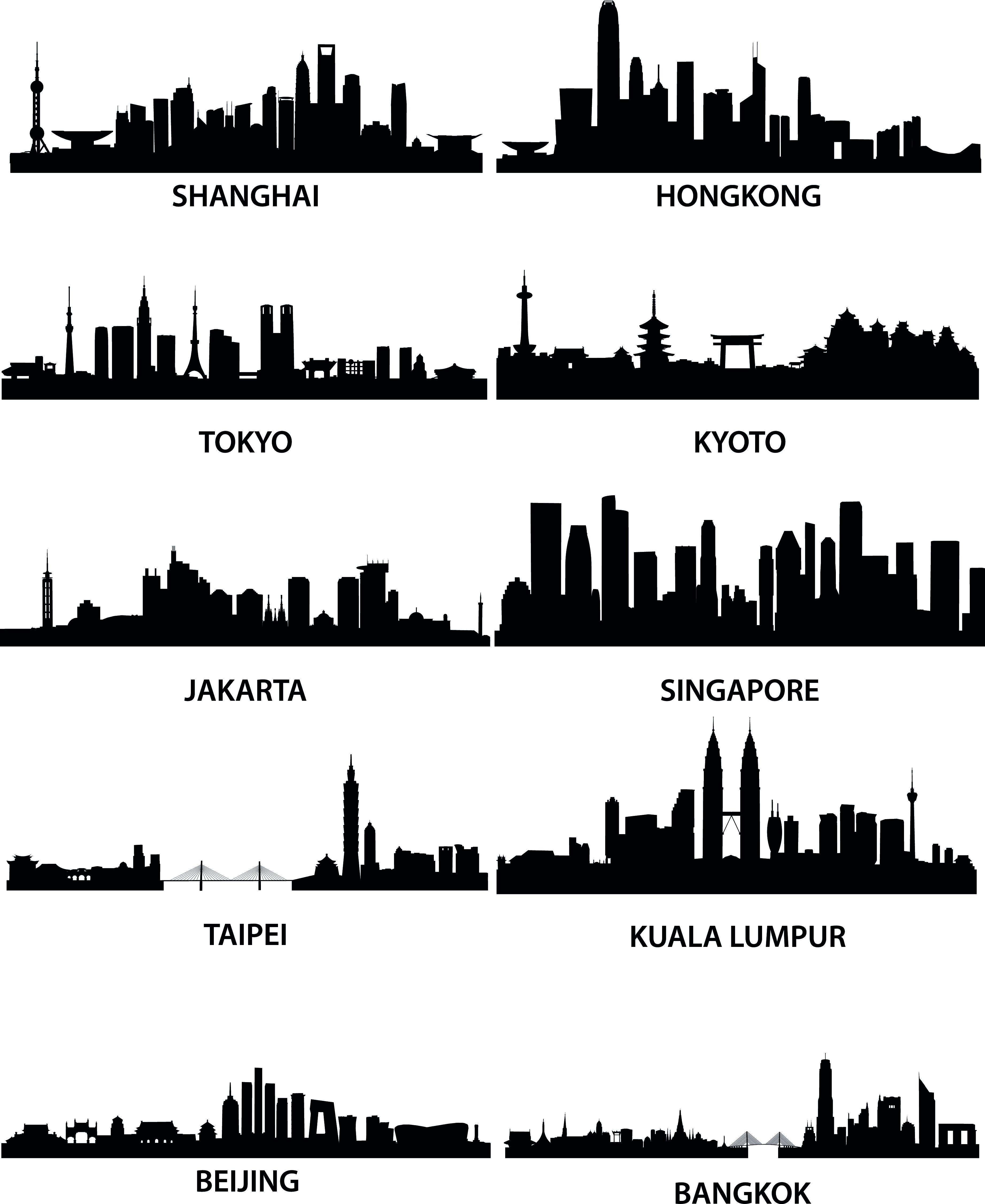 Wellknown City Silhouette Vector Free Vector City Silhouette City Skyline Skyline Drawing
