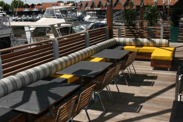 The Breakwater Tavern | Furniture Options. Outdoor Banquette Seating.