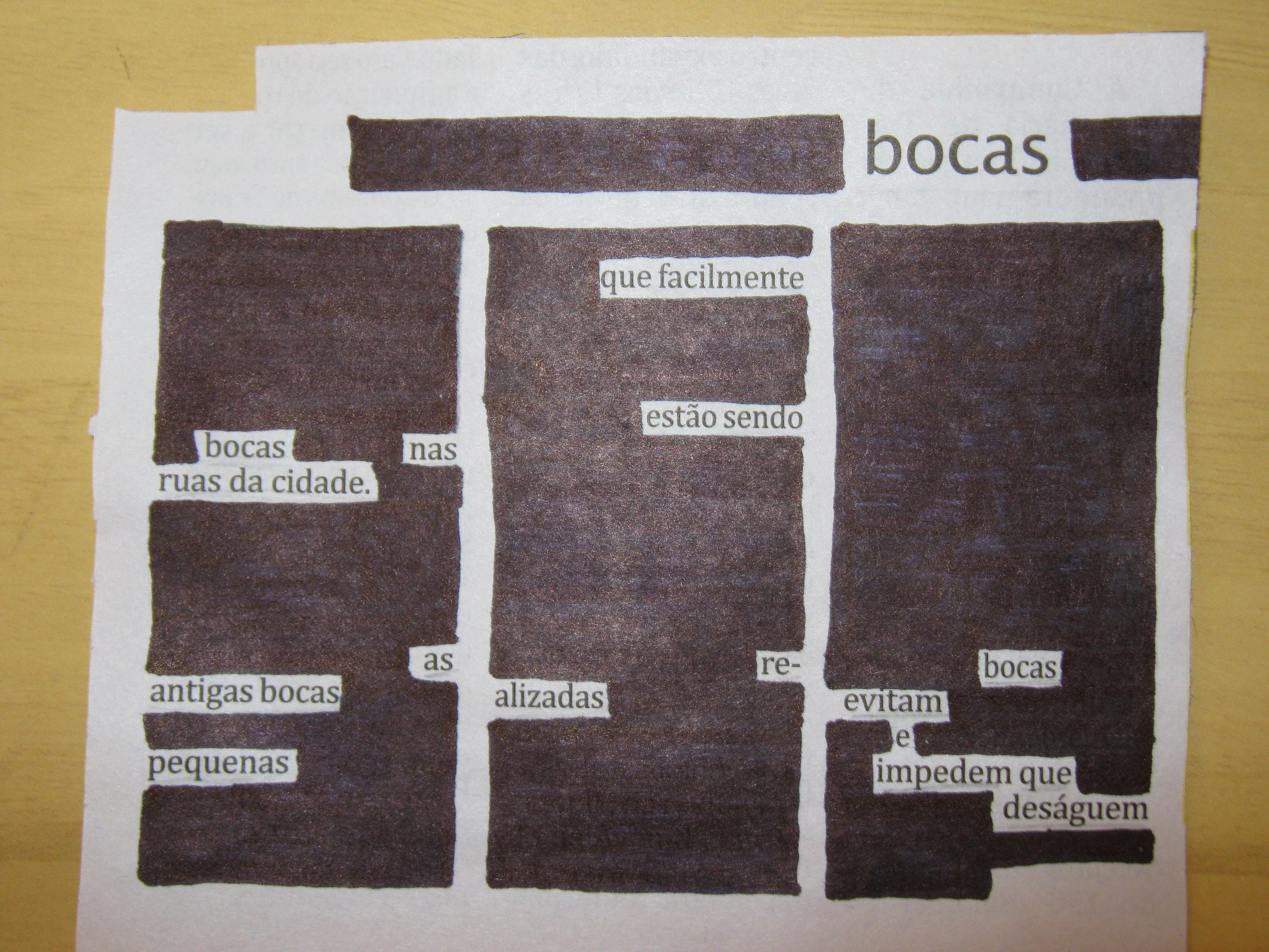 "Poesia ""achada"" no jornal do dia por Renata Goios."