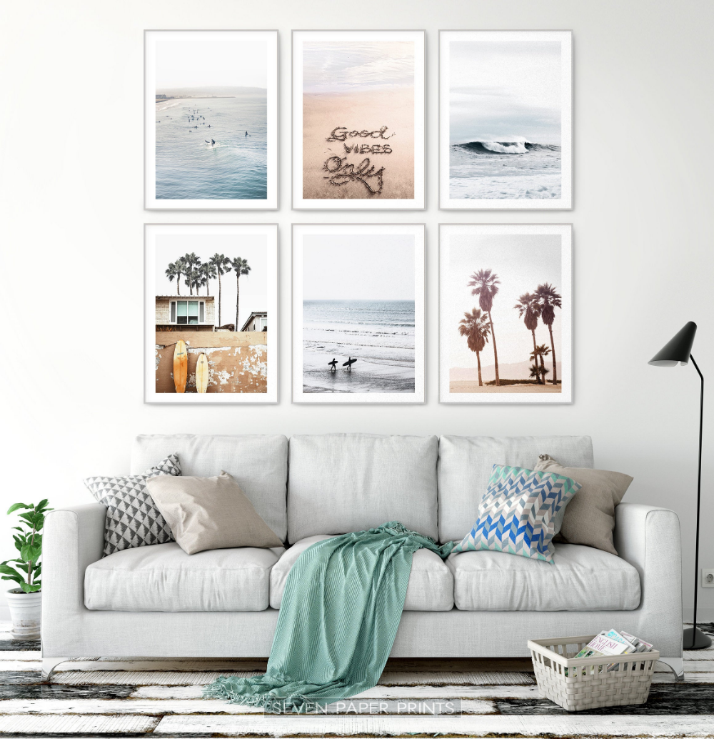 Ocean Wall Art Surfing Decor Summer Beach Set With California Etsy Surf Decor Beach Wall Art Set Grey Wall Art