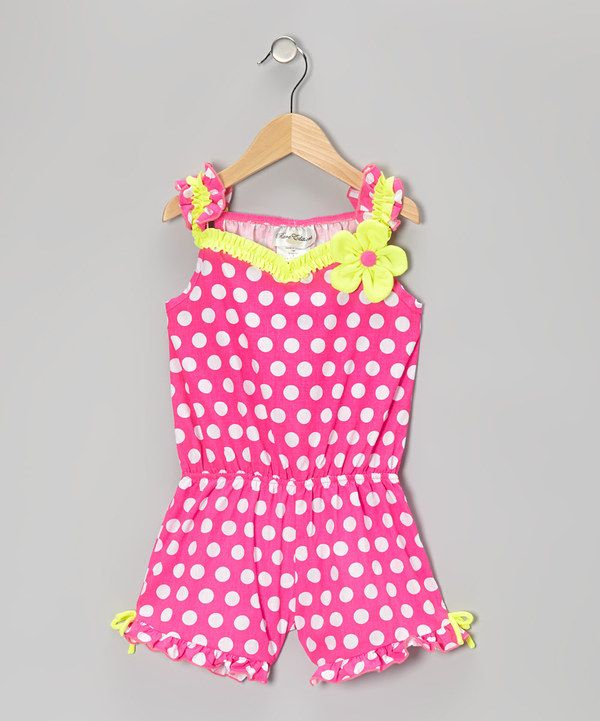 e0be2e414 Take a look at this Rare Editions Fuchsia & Yellow Polka Dot Romper -  Toddler & Girls on zulily today!