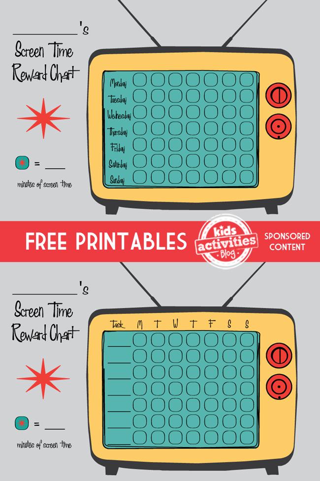 Free Printable Screen Time Reward Charts Free printable