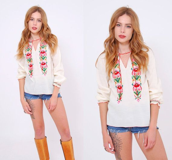 Vintage 70s EMBROIDERED Blouse Peasant Top by LotusvintageNY #70s #70sfashion #boho #hippie #peasanttop #bohoblouse #bohemian #embroideredtop #pennylane #etsy
