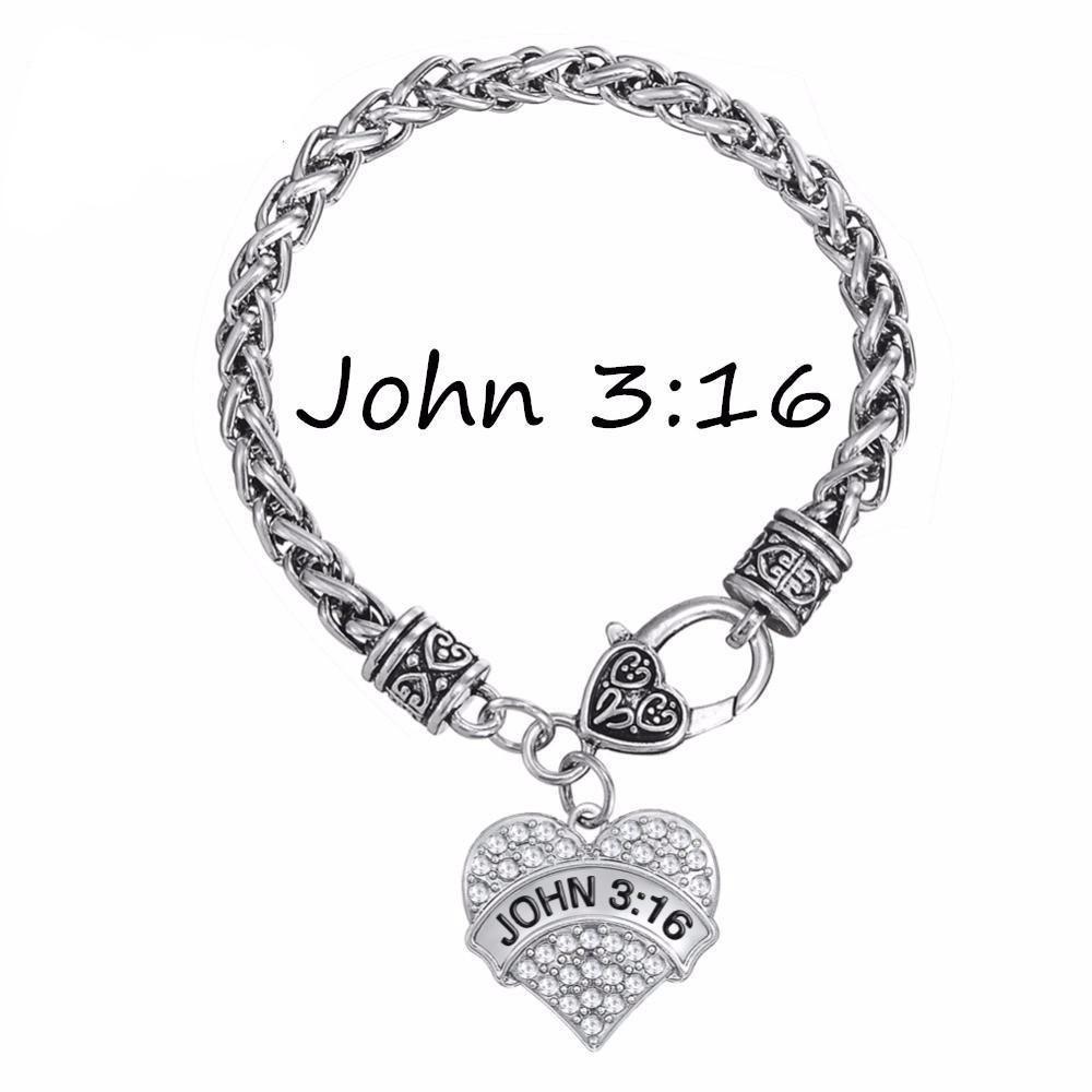 John crystal heart charm bracelet bible verse christian