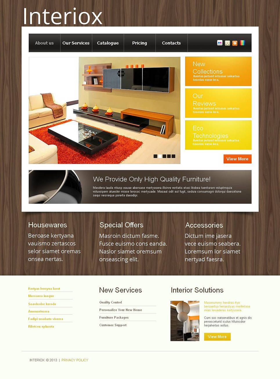 Interior & Furniture Moto CMS HTML Template 44856 Real